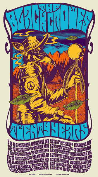 THE BLACK CROWES - Tour 2010 by Alan Forbes (8/13/10 - 8/31/10) (handbill)
