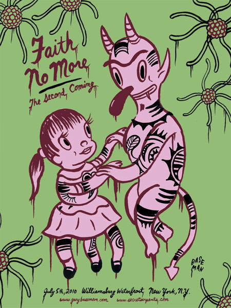 FAITH NO MORE - New York 2010 (green edition) by Gary Baseman
