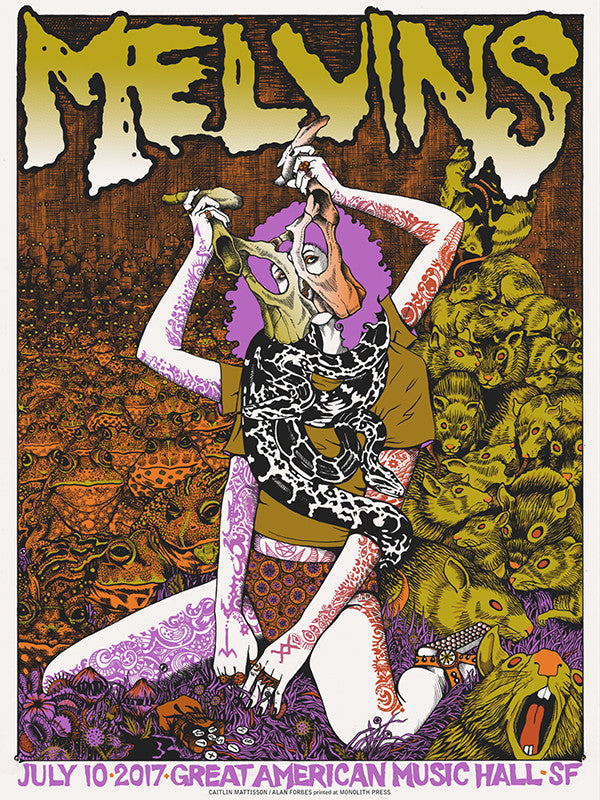 MELVINS San Francisco 2015 poster Alan Forbes S//N VERY LIMITED!