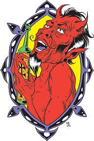DRINKIN' DEVIL - sticker by Alan Forbes