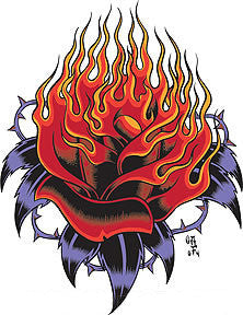 FLAMING ROSE - sticker by Alan Forbes