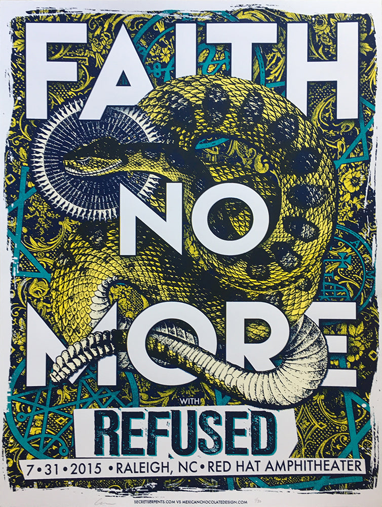 FAITH NO MORE / REFUSED - Raleigh 2015 (blue variant) by Jared Connor - Scratch & Dent