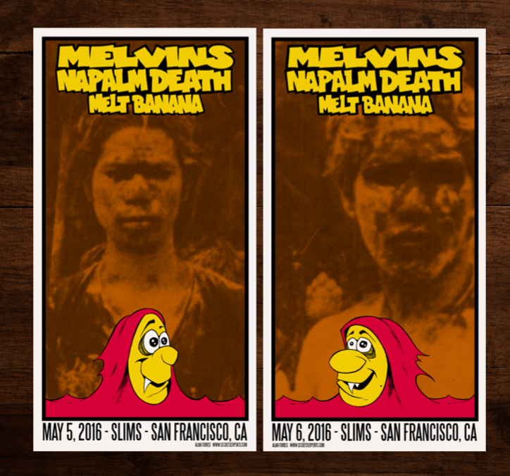MELVINS / NAPALM DEATH - San Francisco 2016 handbill set by Alan Forbes