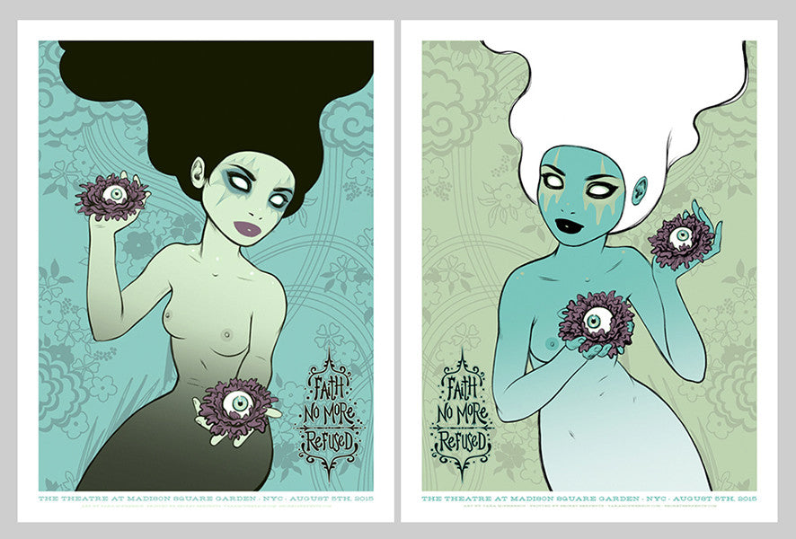 FAITH NO MORE - New York 2015 white / black hair matched numbered set by Tara McPherson