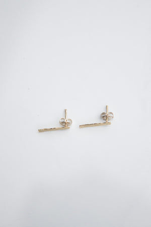 Hammered Bar studs - Gold