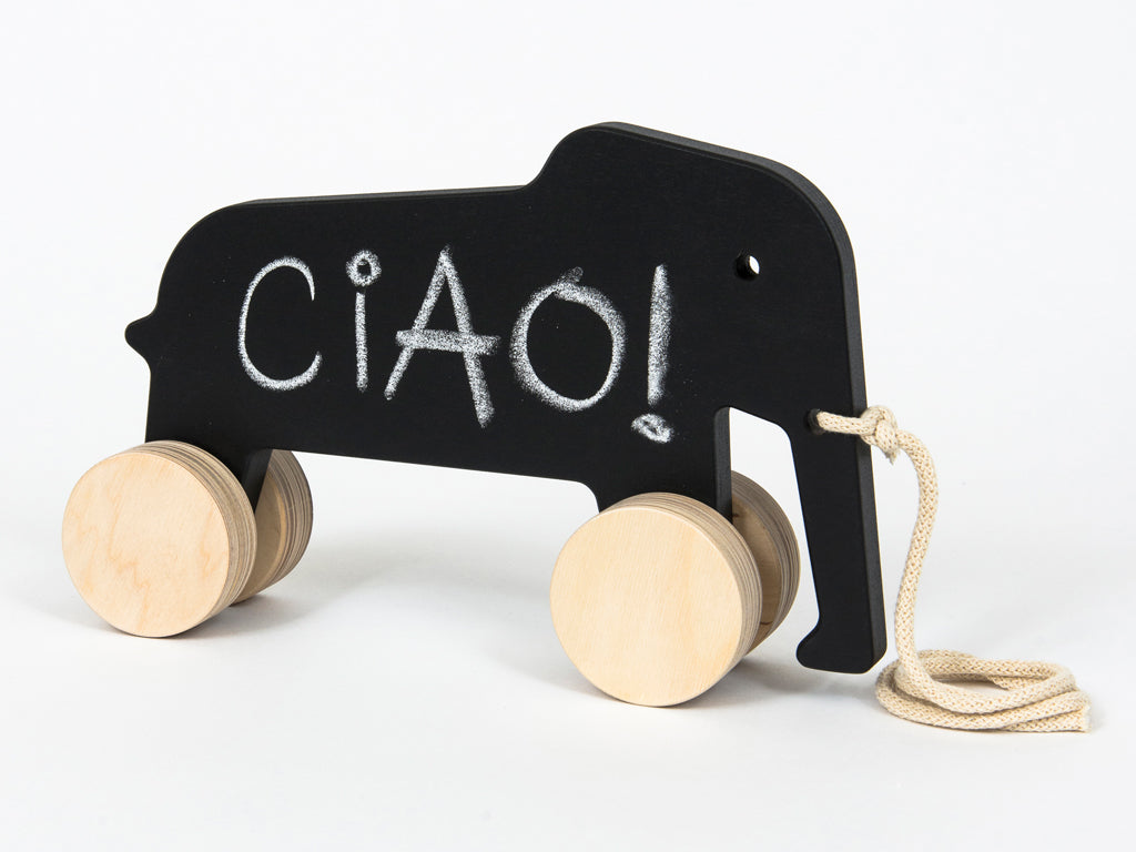 Studio delle Alpi | Wooden design pull toy Eddy the Elephant blackboard