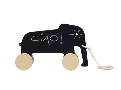 Wooden pull toy Eddy the elephant chalkboard