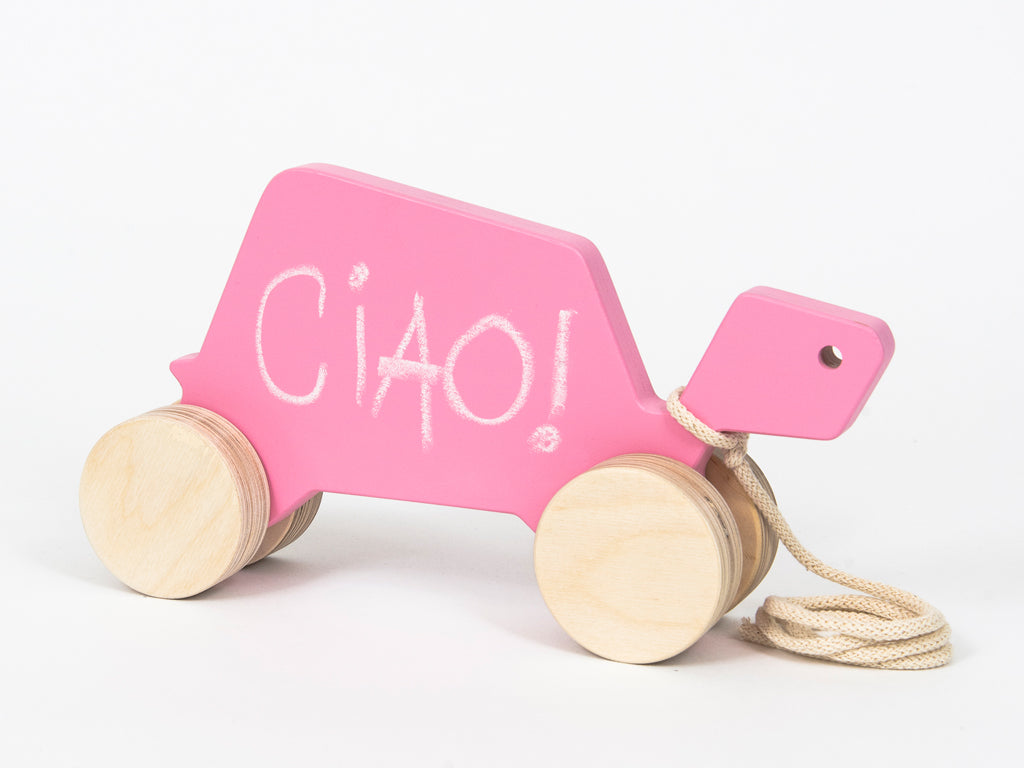 Studio delle Alpi | Wooden design pull toy Gina the Turtle chalkboard