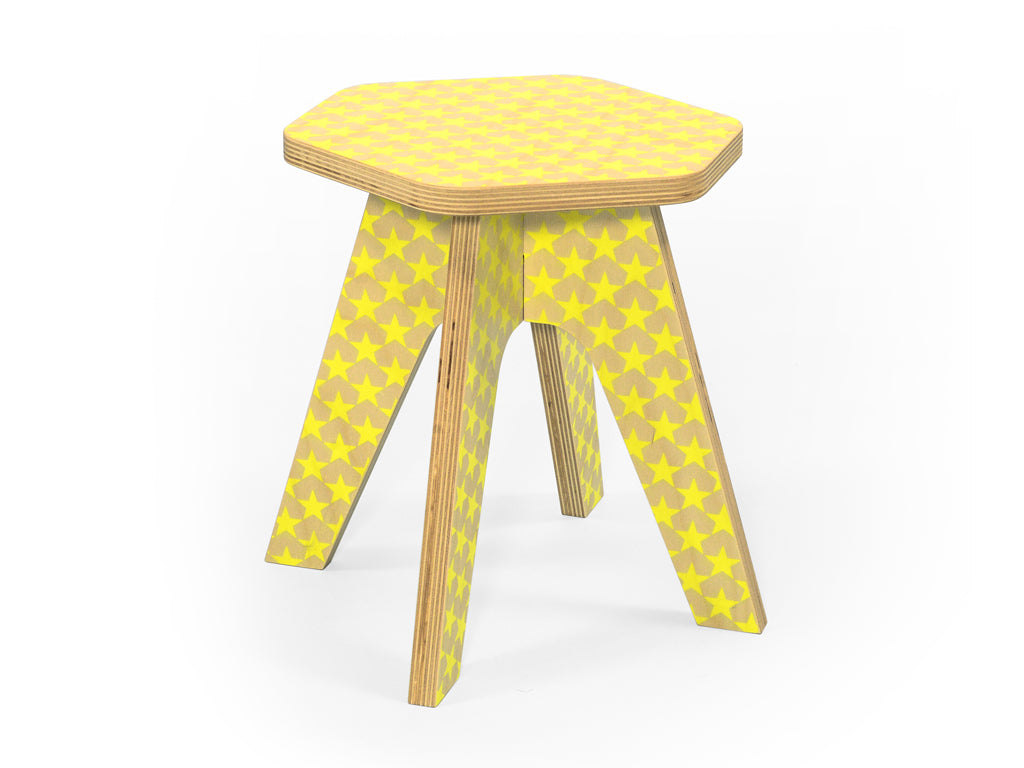 Studio delle Alpi | Yellow wooden design stool 'The Milk Stool'