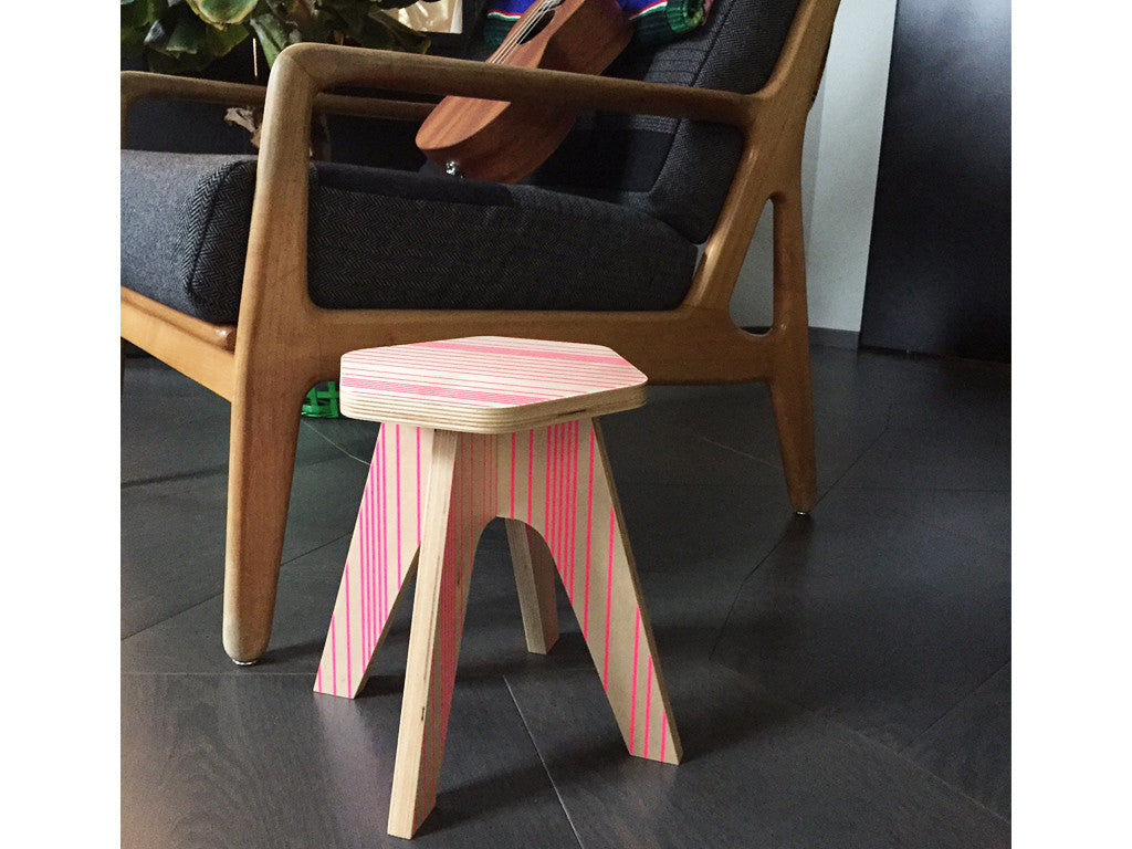 Studio delle Alpi | Pink wooden design chair stool 'The Milk Stool'