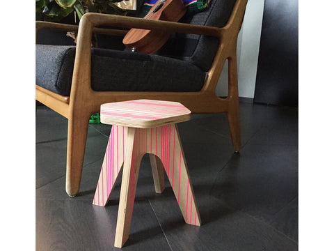 Wooden stool for kids - Milk stool Pink fluo lines | Studio delle Alpi