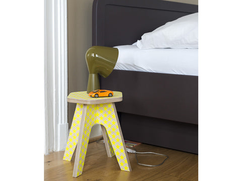 Wooden stool for kids - Milk stool Yellow fluo stars | Studio delle Alpi