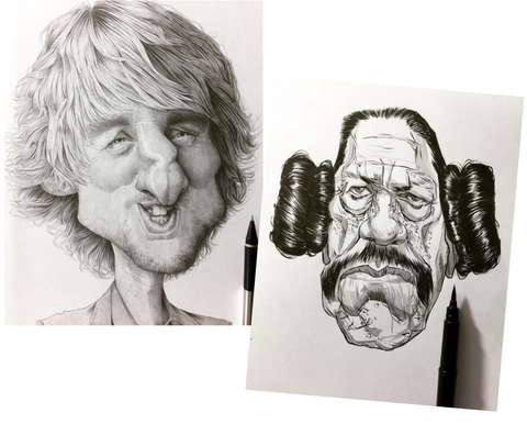How To Draw - Owen Wilson Sketch and Danny Trejo Drawing - Showing Creativity