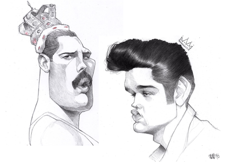 How To Draw - Freddie Mercury Drawing And Elvis Presley Drawing - Sketches