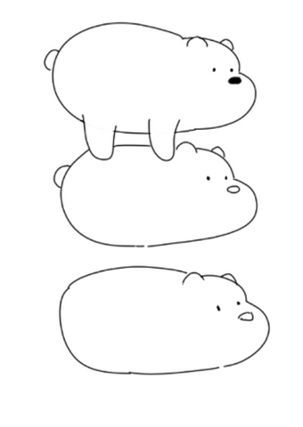 How To Draw We Bare Bears - Drawing The Shape Of The Body With Letters