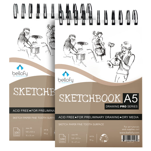 100 Sheet A5 Sketchbook Set of 2 - 5.8 x 8.3 Inch | Top Spiral-Bound Sketchpad for Artists