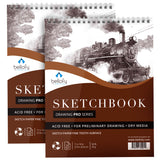 Large Sketchbook Set of 2 - 25 Sheets/Pad - 11x14 Inch - Art Supplies for Artists, Beginners & Kids