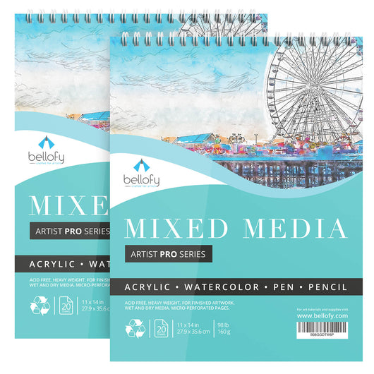 Large Mixed Media Sketchbook Set of 2- 20 Sheets/Pad - Spiral Sketchpad for Multimedia - Acrylic Pencil Pen Watercolor