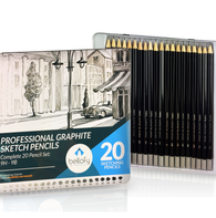 Bellofy 20 Sketching Pencils – Complete Professional Graphite Pencil Set for Sketch Drawing – 9B to 9H Art Travel