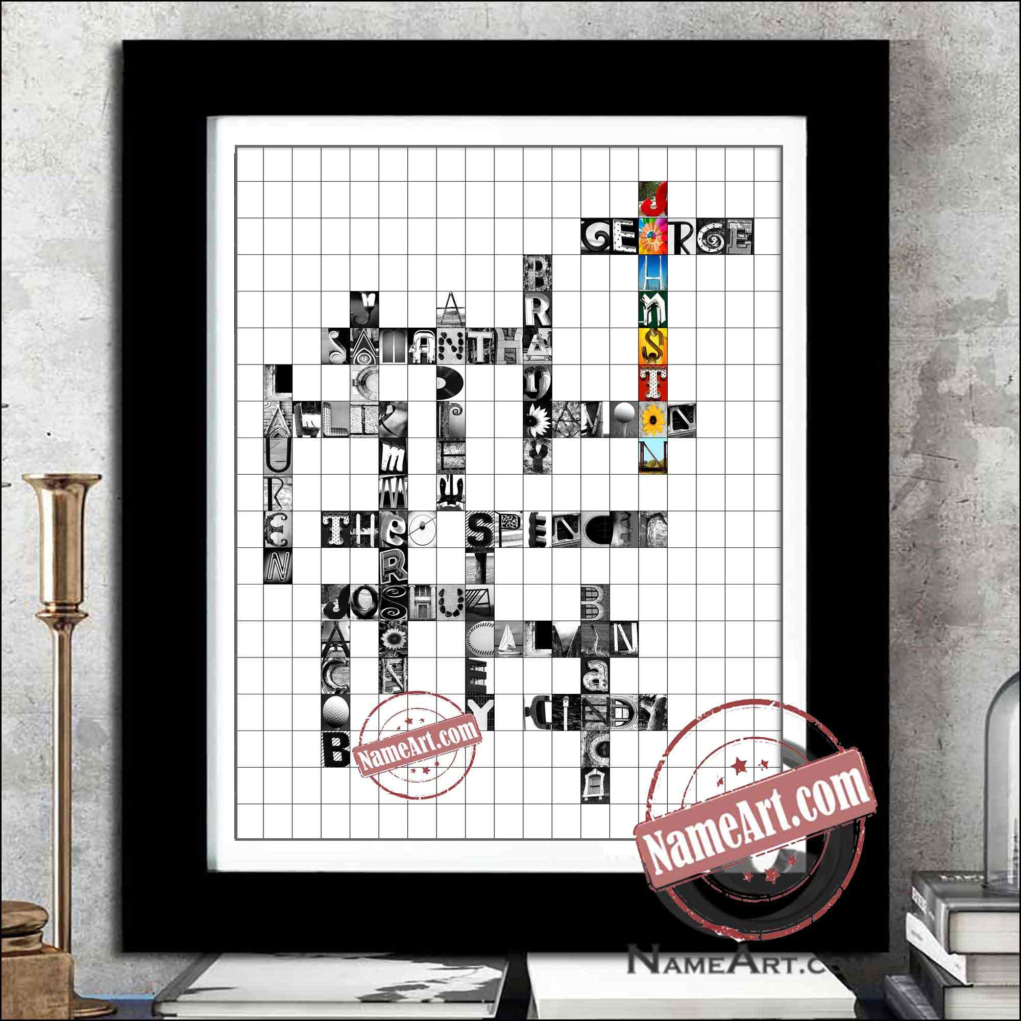 Crossword Themed Family Art
