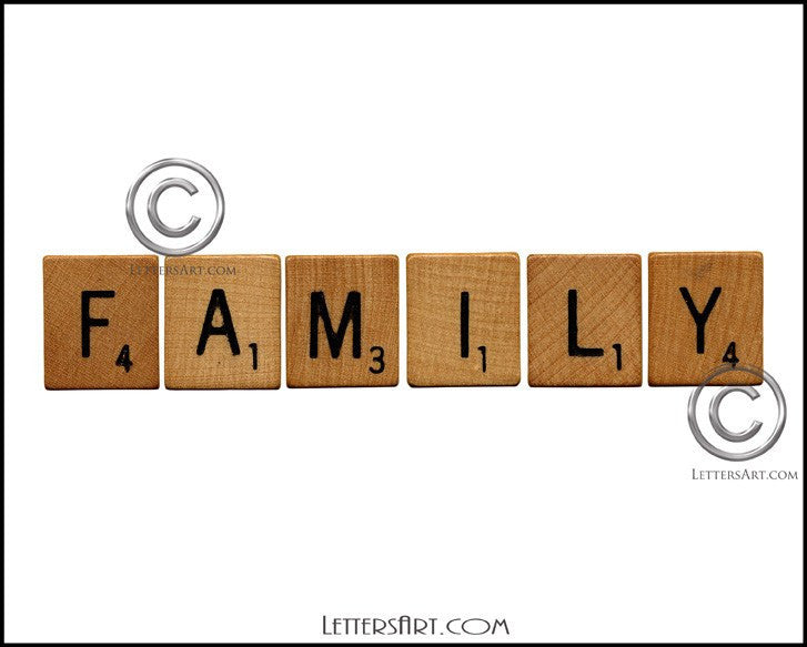 Letter Art Name Art Free Printable Art SCRABBLE FAMILY