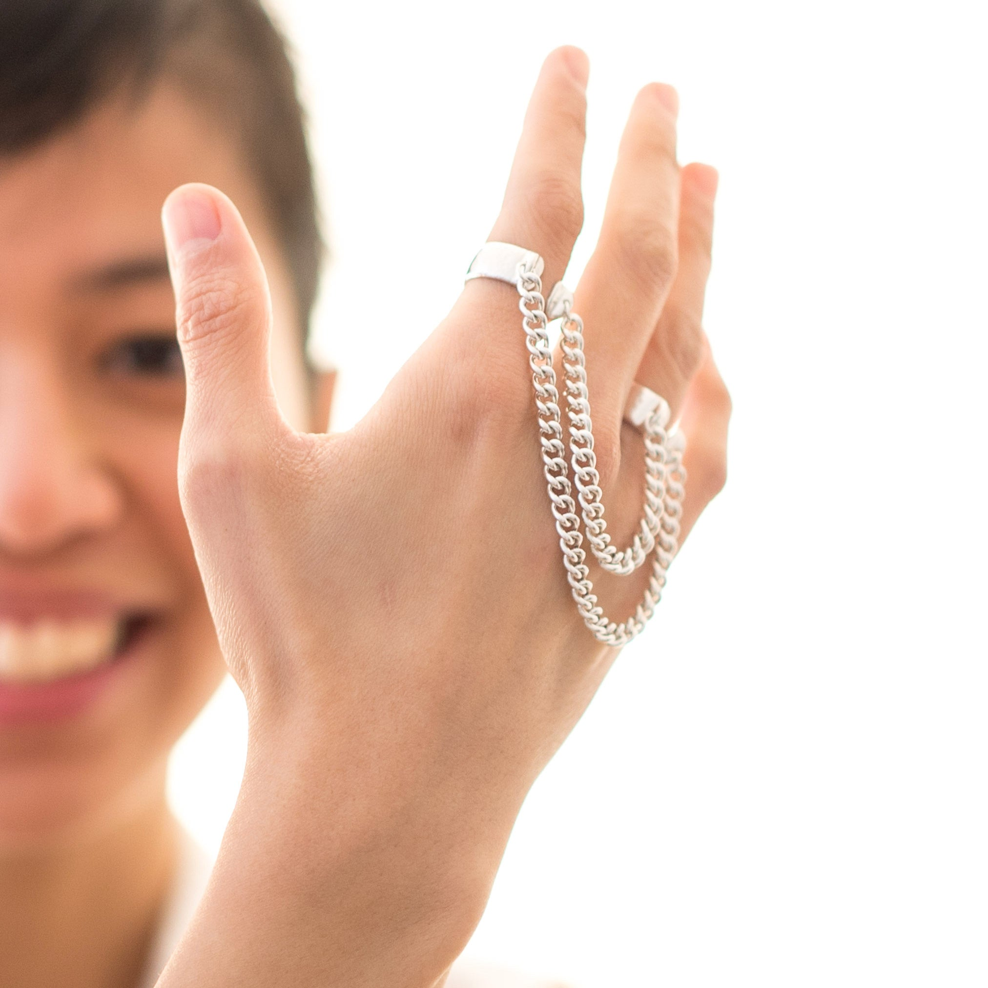 Kristine Cabanban Jewelry Double Chain Rings Silver