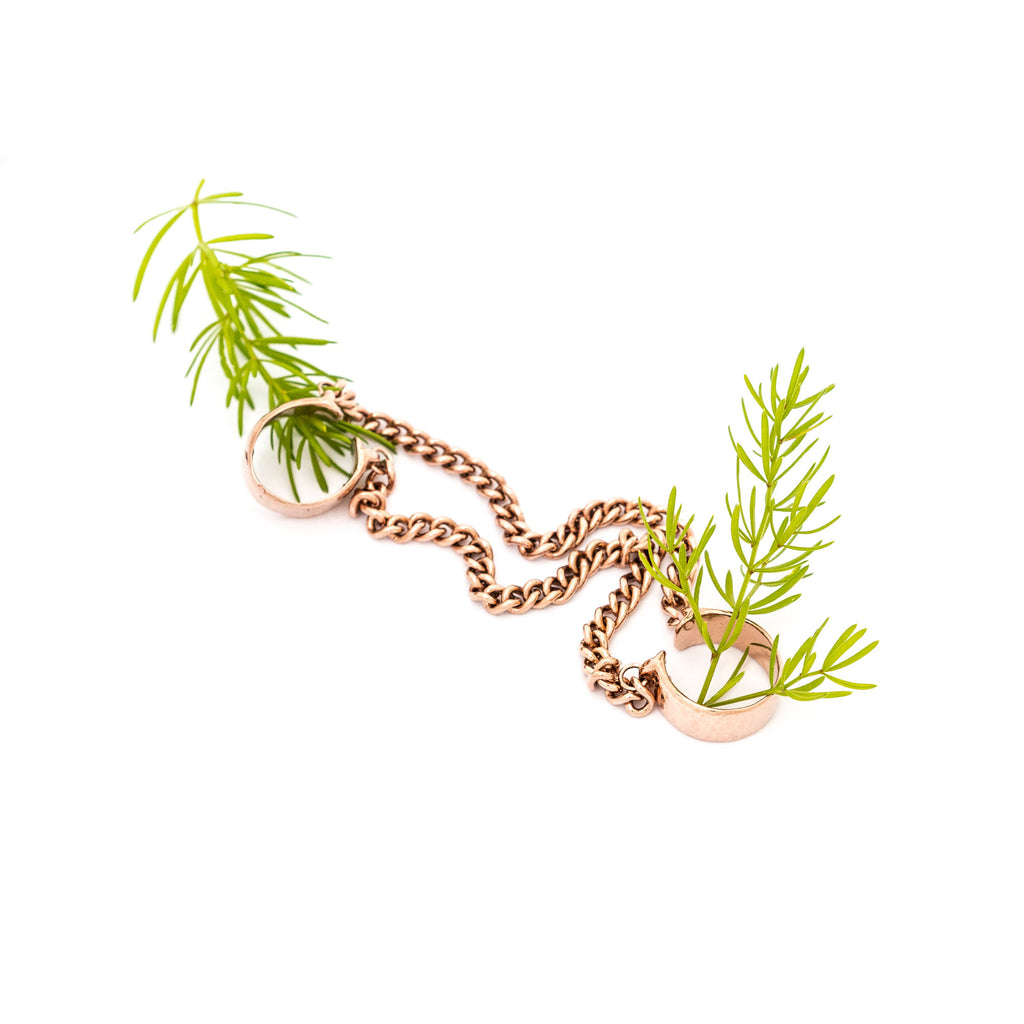 Double Chain Rings - Rose Gold Vermeil