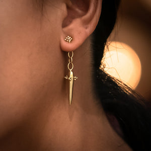 Pyramid Drop Earrings - Yellow Gold Vermeil