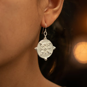Circle Circle Dot Dot Earrings - Silver