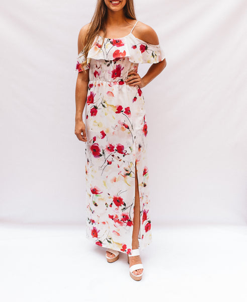 Ivory Red Floral Print Maxi Dress
