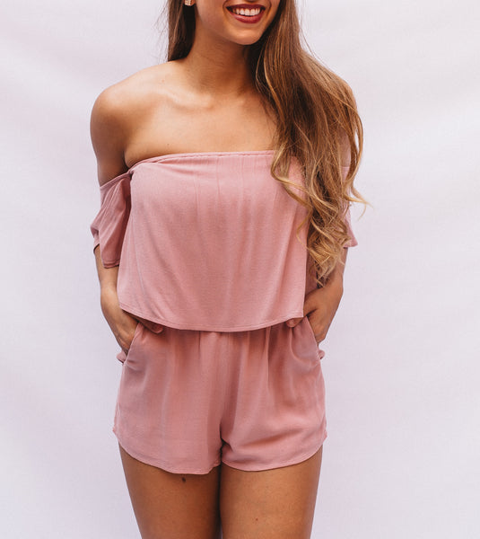 Rose Off shoulder Solid Romper