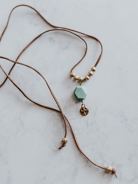 MH Turquoise & Gold Cross Charm Necklace