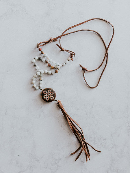 MH Natural Stones Necklace with Charm & Leather Fringe