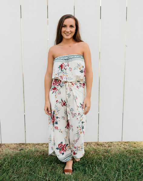 Ivory Floral Jumpsuits