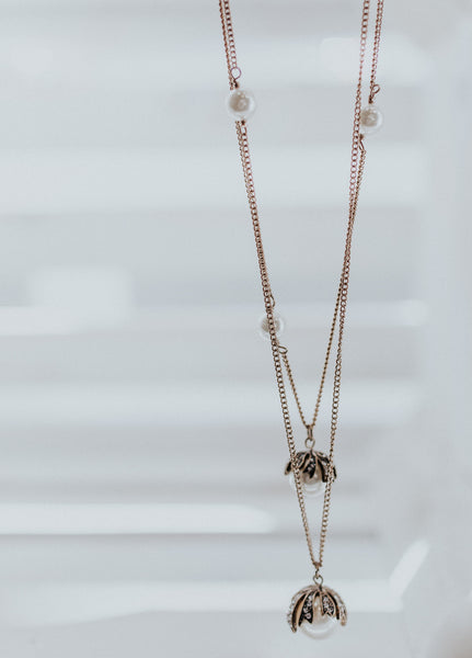 Pearl w/ Gold & Diamond Detail Necklace