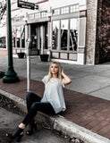 Light Grey Top w/Lace Inset