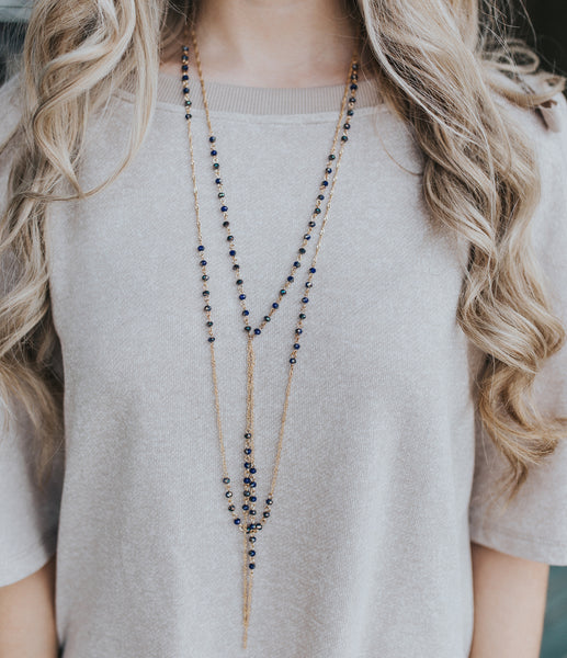 Long Gold and Navy Bead Necklace
