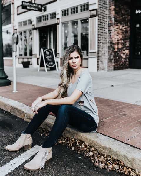 Grey Distressed V-Neck Tee