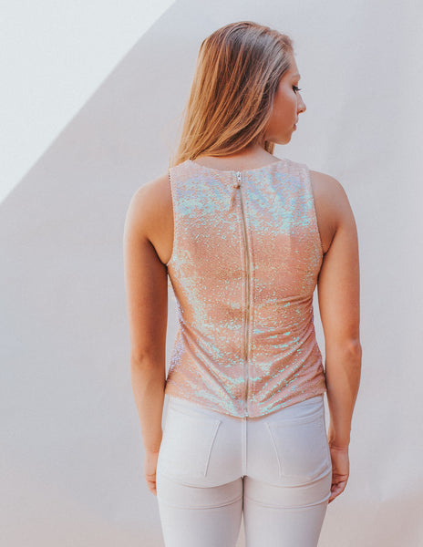 Peach Sequins Top