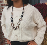 Ivory Heavy Crop Sweater