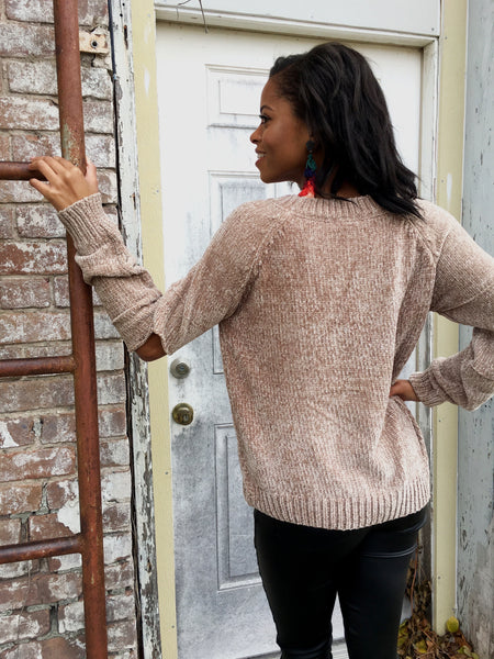 Coffee Chenille Sweater w/ Open Elbow