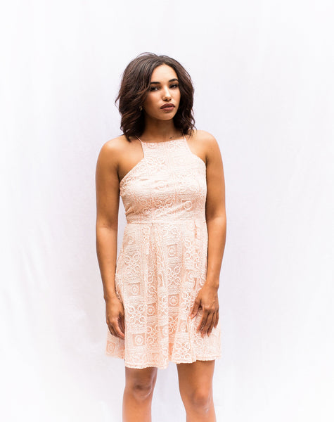 Peach High Neck Lace Fit-N-Flare Dress