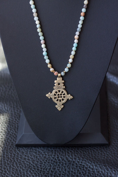MH Brass Ethiopian Cross Necklace $55