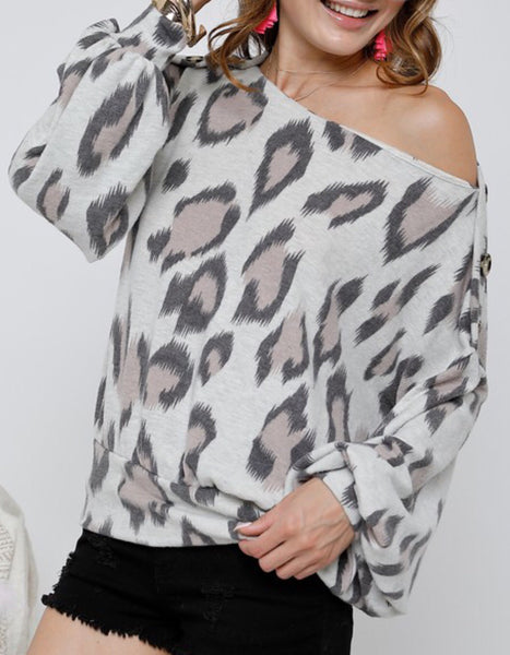 Ivory Leopard Wide Neck Top