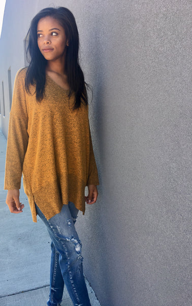 Mustard Over Sized V-Neck Sweater
