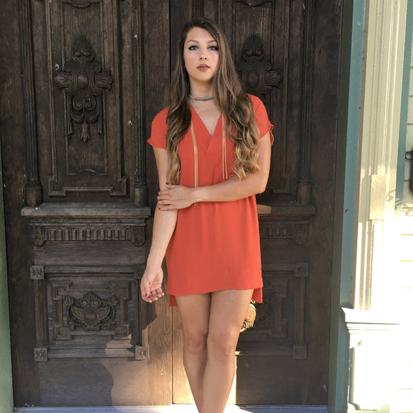 Rust V Neck Dress