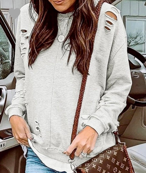 Grey Distressed Loose Fit Raglan Top