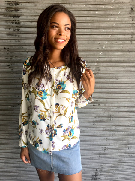 Ivory/Teal Floral Blouse