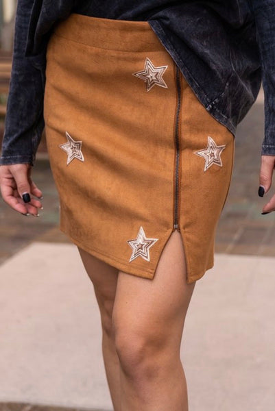 Camel Embroidered Star Skirt