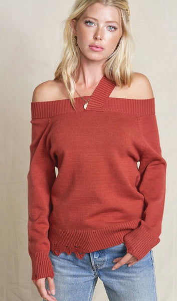 Marsala Off Shoulder Sweater